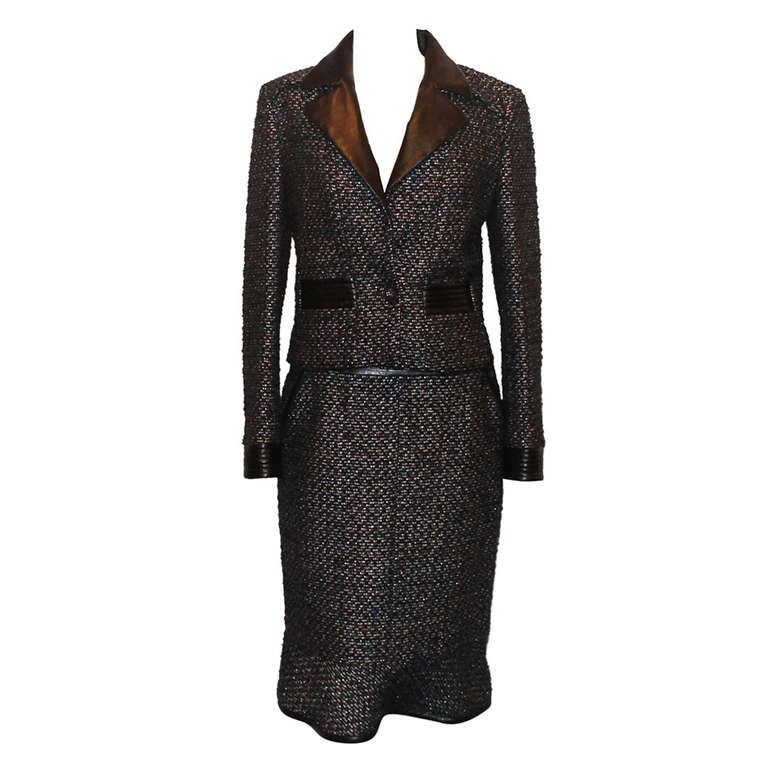 chanel black and metallic tweed and leather skirt suit