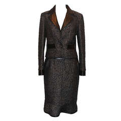 Chanel Black & Metallic tweed and leather skirt suit - size 40 - circa 02A
