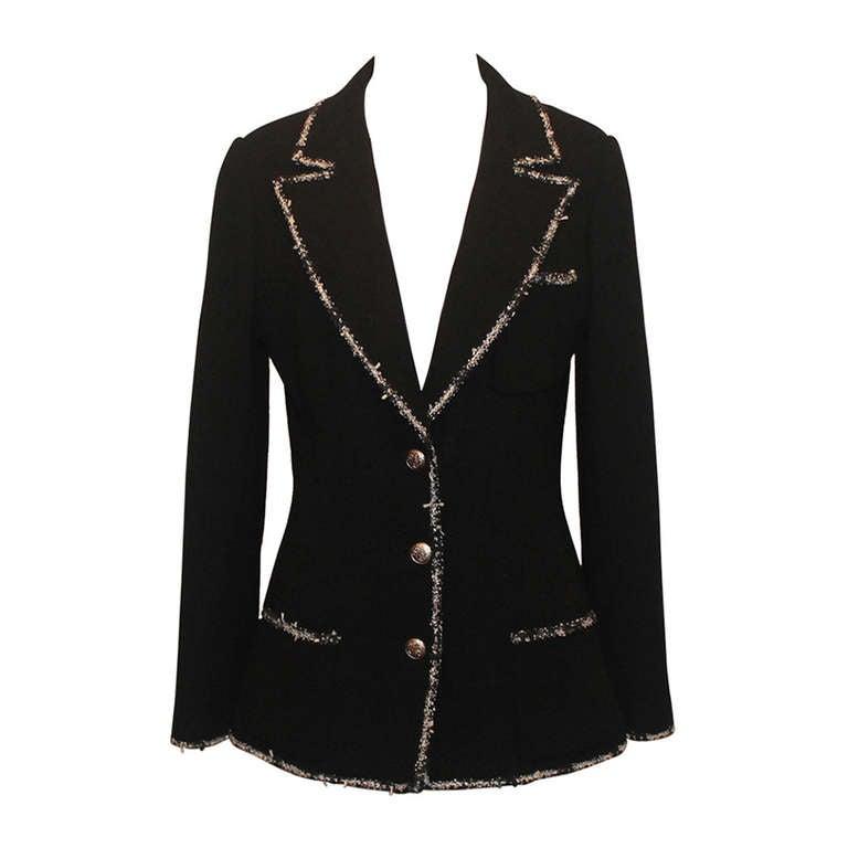"Chanel black wool ""Devil Wears Prada"" Collection Jacket - 2005 - Sz 40 1"