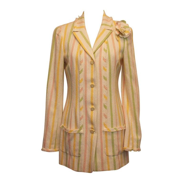 Chanel Pastel Striped Cotton Jacket w/ camelia brooch -  Circa 04C - Sz 40