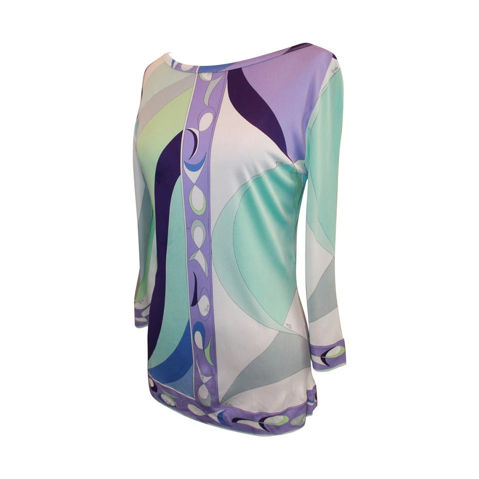 Emilio Pucci 1990's Vintage Aqua & Purple Printed Tunic Top - 12