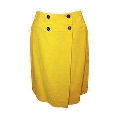 Chanel 1980's Vintage Yellow Tweed Wrap Skirt - 38