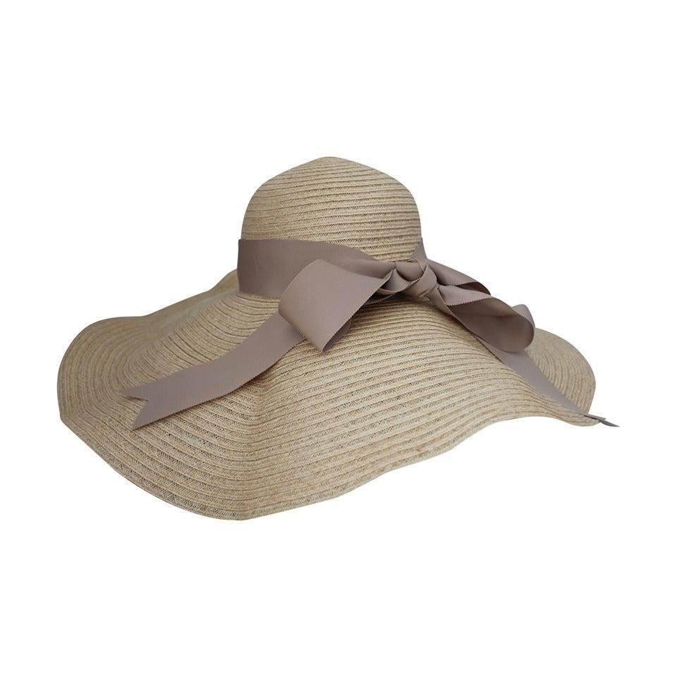 Lanvin creme light straw large brim hat w/ taupe ribbon detail 1