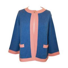 Chanel 2007 Blue & Peach Cashmere Sweater - 46