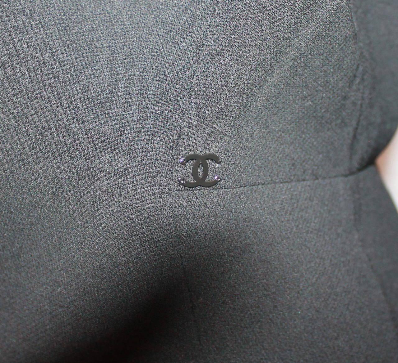 Chanel Black Wool Tuxedo Style Jacket - 40 - NWT 4