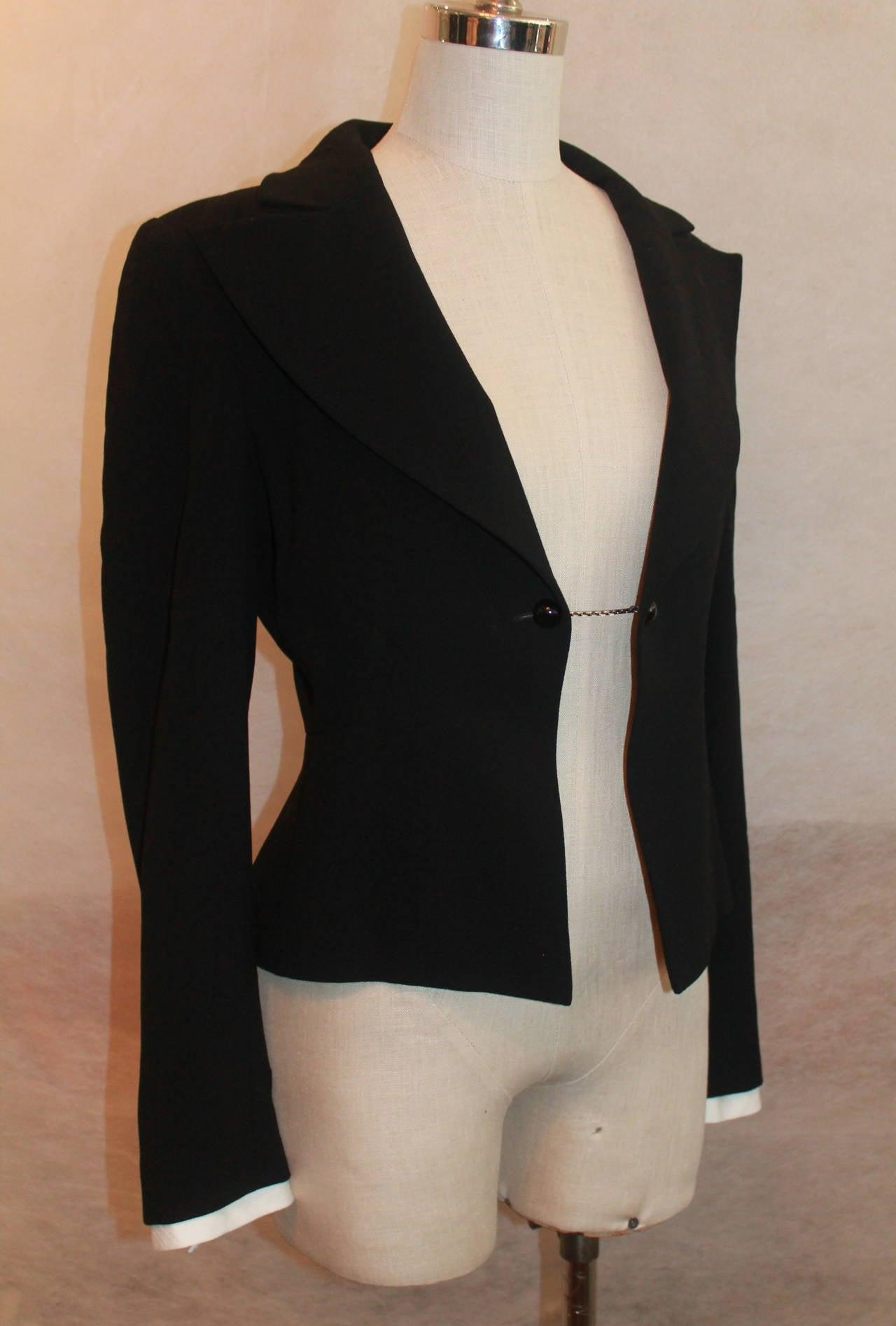 Chanel Black Wool Tuxedo Style Jacket - 40 - NWT 2