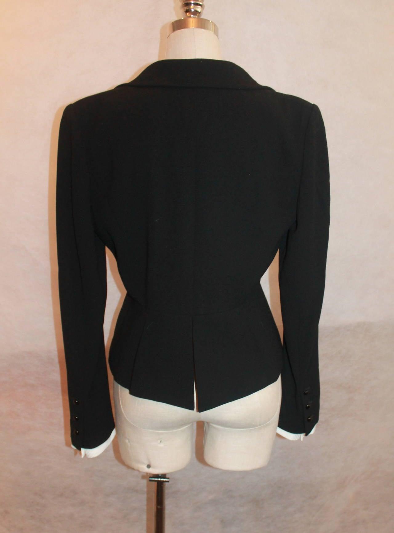 Chanel Black Wool Tuxedo Style Jacket - 40 - NWT 6