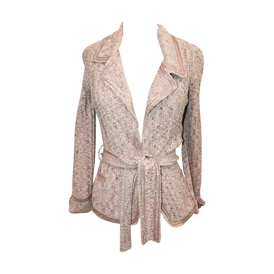 Chanel Beige Knit Jacket with Sequins - Size 40 - Circa 2006 1