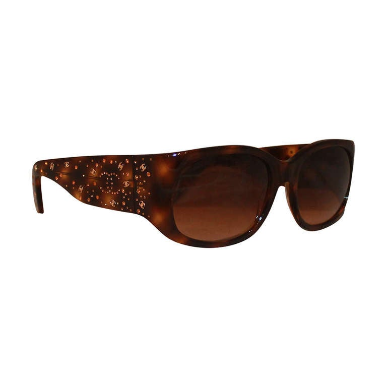 Chanel Eyeglass Frames With Rhinestones : Chanel Tortoise Shell Sunglasses with Amber Rhinestones at ...