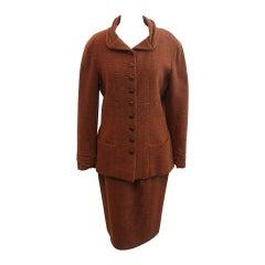 Chanel Rust Wool Blend Skirt Suit - 42 - Circa 1998