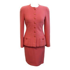Chanel Pink Wool Classic Skirt Suit - 38 - Circa 80's