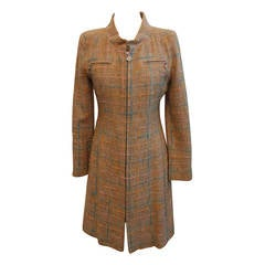 Chanel Tan Cotton Light Tweed Coat Dress w/ pastel details-38-Circa 2001