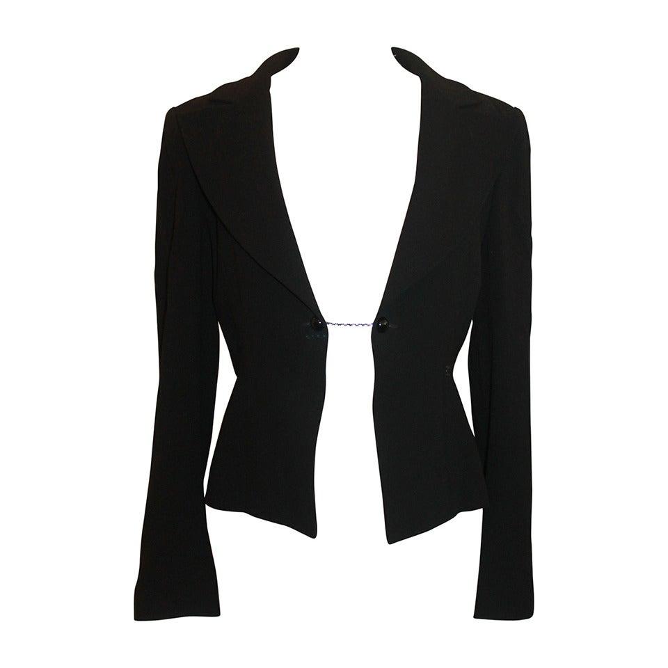 Chanel Black Wool Tuxedo Style Jacket - 40 - NWT 1