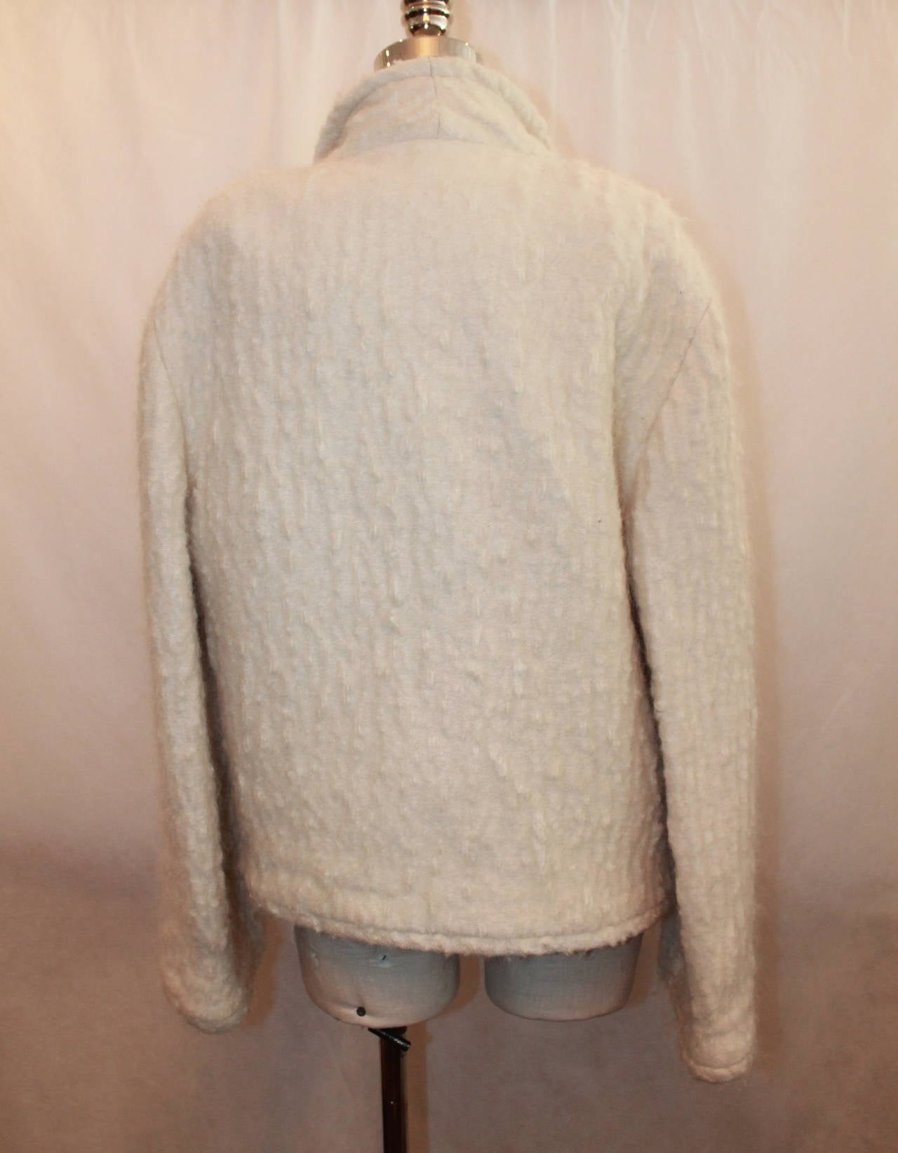 Chanel 1998 Vintage Creme Mohair & Wool Blend Jacket - 38 For Sale 1