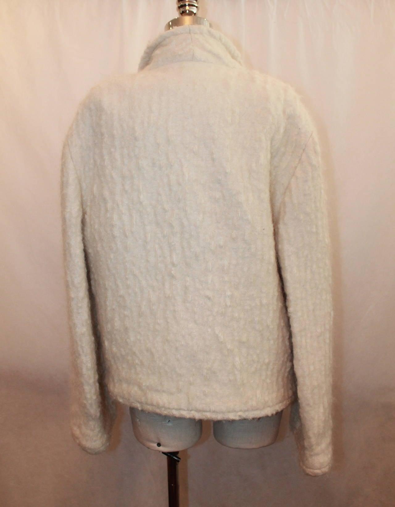 Chanel 1998 Vintage Creme Mohair & Wool Blend Jacket - 38 6