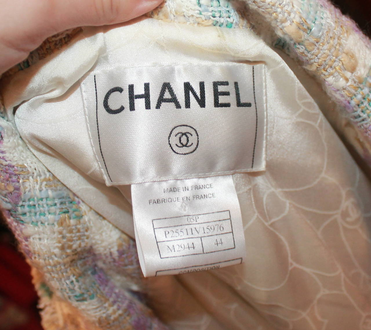 2005 Chanel Multi Color Pastel Tweed Jacket with Mademoiselle Buttons For Sale 2