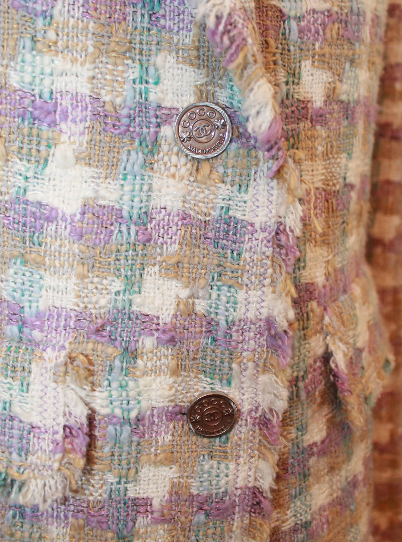 Gray 2005 Chanel Multi Color Pastel Tweed Jacket with Mademoiselle Buttons For Sale