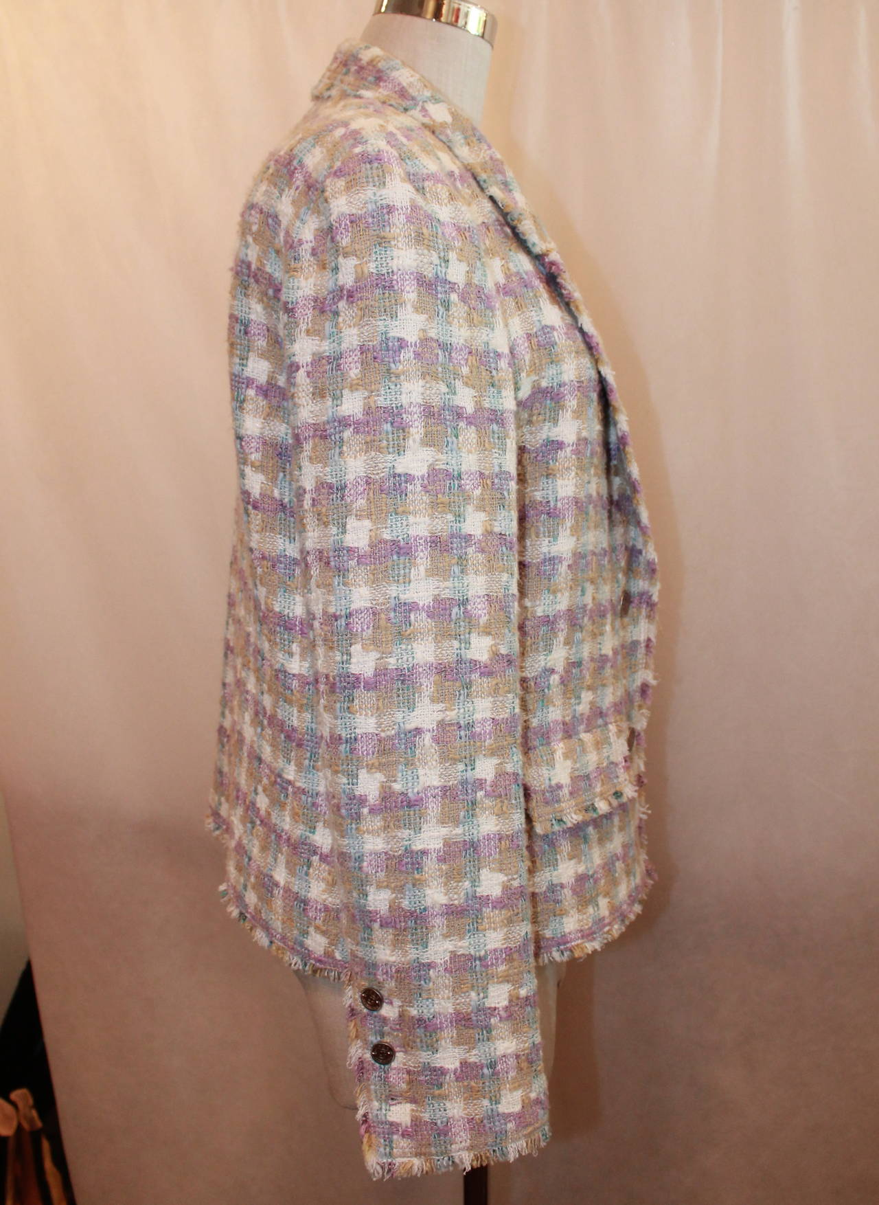2005 Chanel Multi Color Pastel Tweed Jacket with Mademoiselle Buttons In Excellent Condition For Sale In Palm Beach, FL