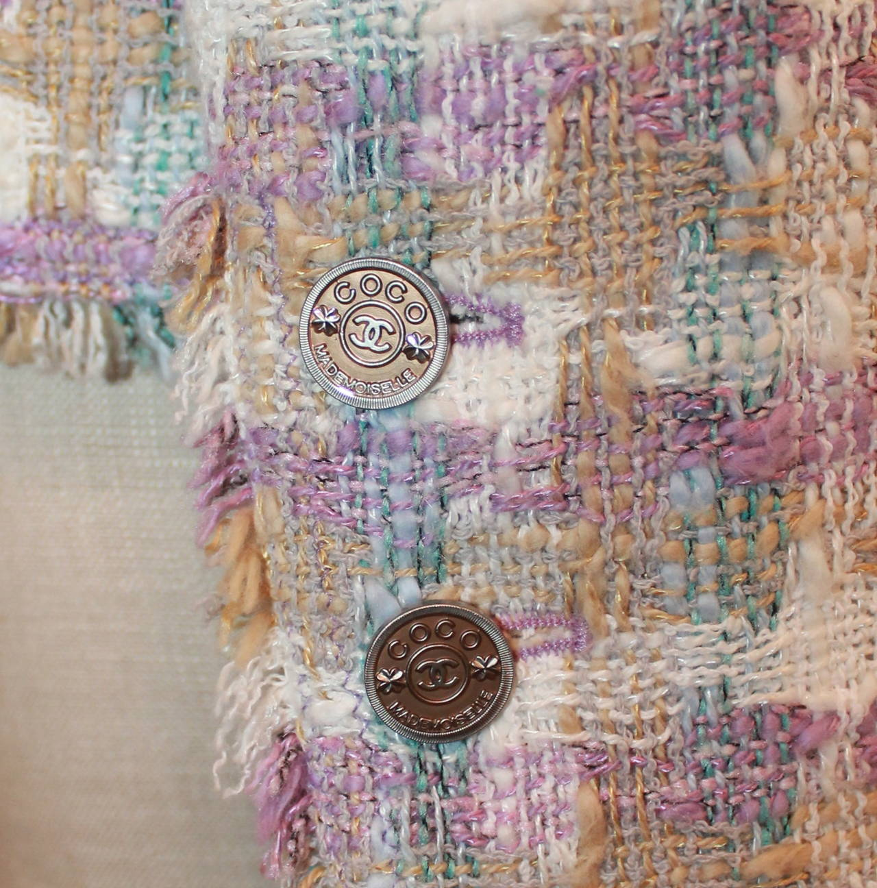 2005 Chanel Multi Color Pastel Tweed Jacket with Mademoiselle Buttons 5