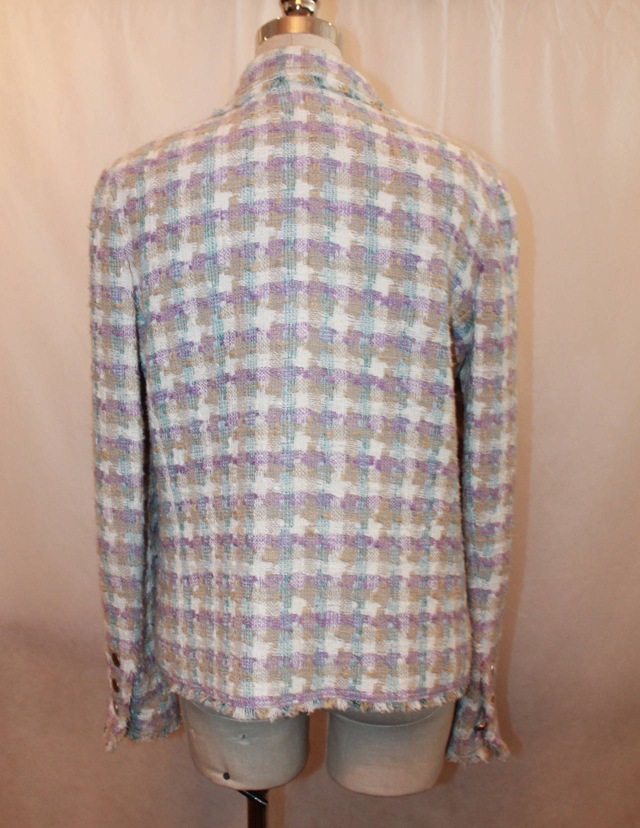 2005 Chanel Multi Color Pastel Tweed Jacket with Mademoiselle Buttons For Sale 1