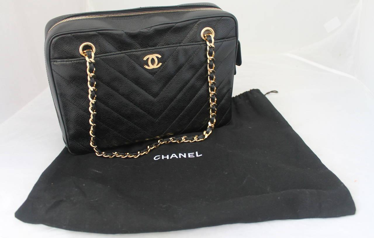 c85d6da928c0ea Chanel 2002 Black Caviar Chevron Quilted Camera Case Bag For Sale 2