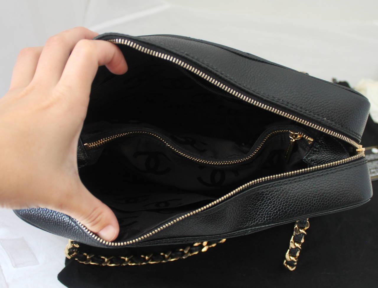cb10dbd0dd129f Chanel 2002 Black Caviar Chevron Quilted Camera Case Bag For Sale 3