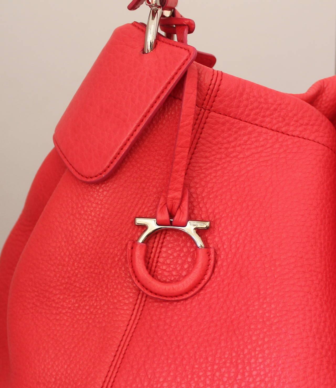 Salvatore Ferragamo Watermelon Pebbled Leather Shoulder Bag 3