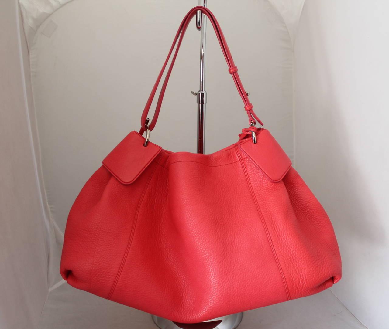 Salvatore Ferragamo Watermelon Pebbled Leather Shoulder Bag 2