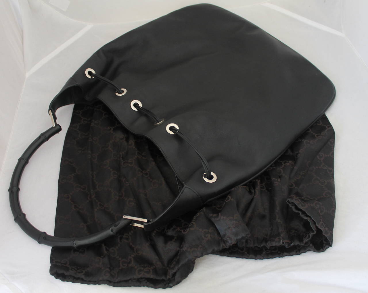 Gucci Black Leather Shoulder Bag with Black Bamboo Handle For Sale 2