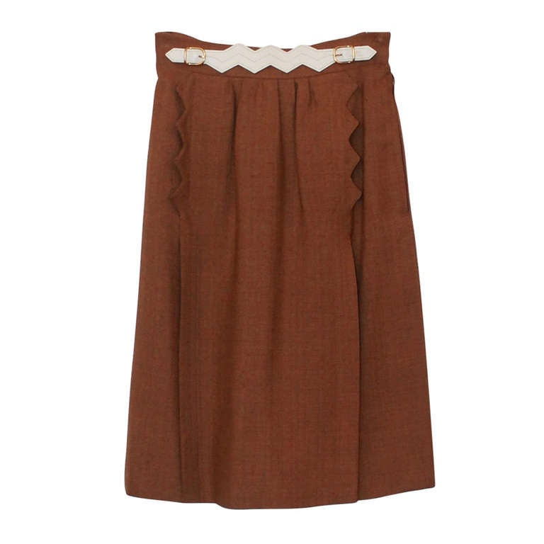 Hermes Tan Skirt with Belt Accent- 36 - Circa 90's