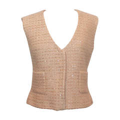 Chanel Tan Tweed Sequined Vest - 42 - 2000A