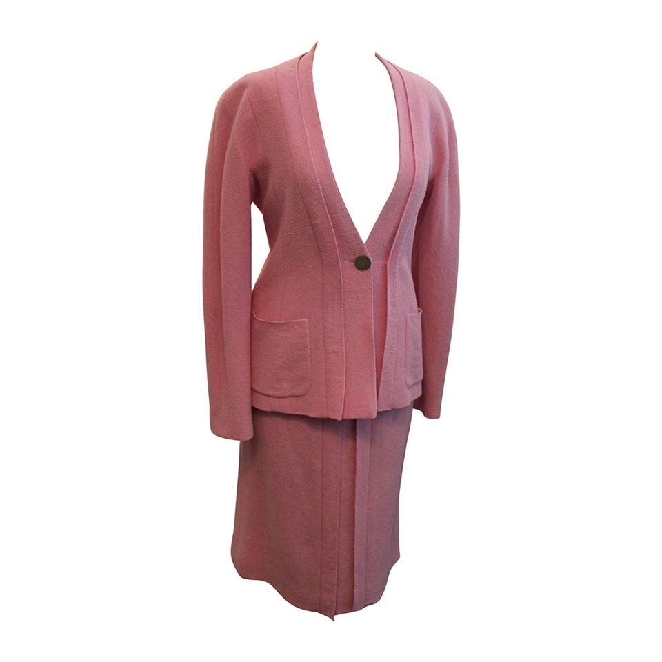 chanel 1999 vintage pink lavender pleated skirt suit 38