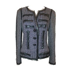 Chanel 2009 Black, White, Pink Tweed Jacket with Patent Detail - 40