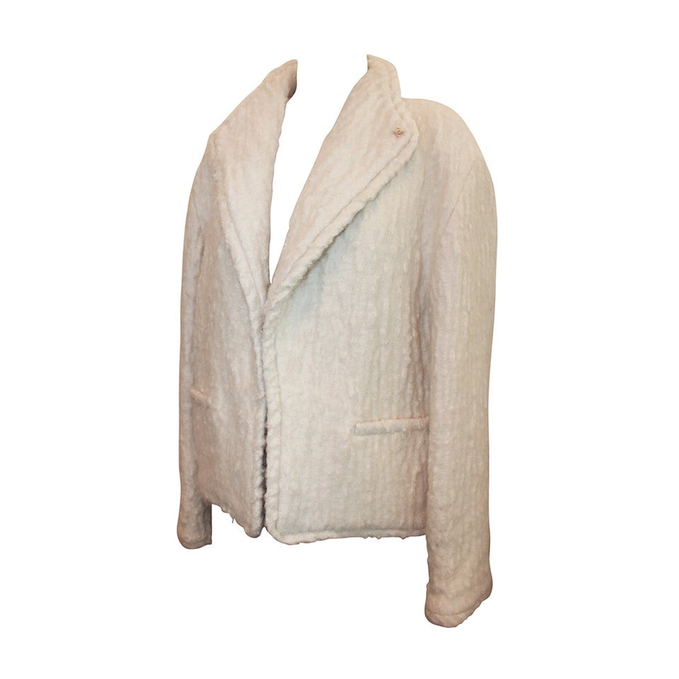 Chanel 1998 Vintage Creme Mohair & Wool Blend Jacket - 38 For Sale