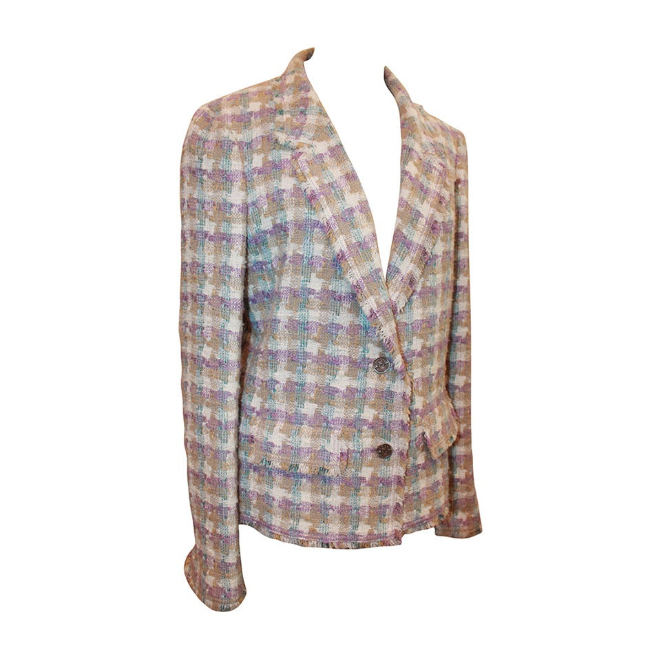 2005 Chanel Multi Color Pastel Tweed Jacket with Mademoiselle Buttons 1