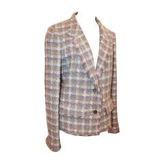 2005 Chanel Multi Color Pastel Tweed Jacket with Mademoiselle Buttons