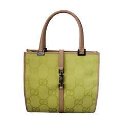 Gucci Chartreuse Canvas Monogram Handbag