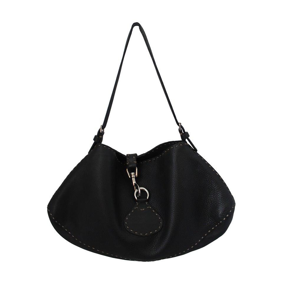 Fendi Black Pebbled Leather Shoulder Bag with Beige Stitching SHW