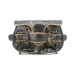 Fendi Deep Olive Patent Bag/Clutch with Tortoise Detail