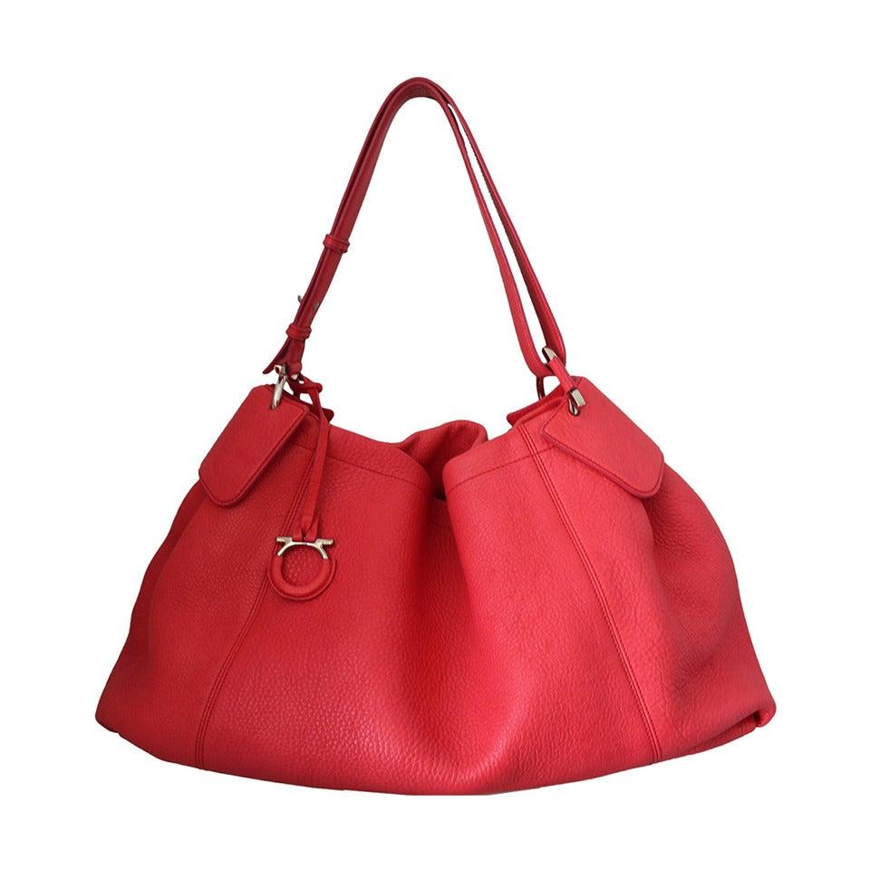 Salvatore Ferragamo Watermelon Pebbled Leather Shoulder Bag 1