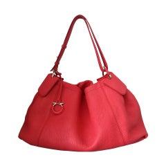 Salvatore Ferragamo Watermelon Pebbled Leather Shoulder Bag