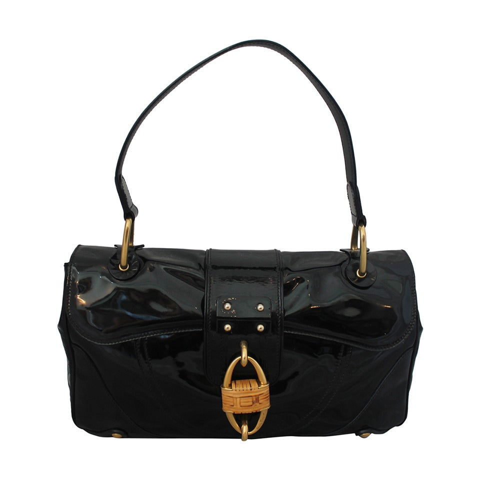 Salvatore Ferragamo Black Patent Leather Shoulder Bag with Bamboo Motif