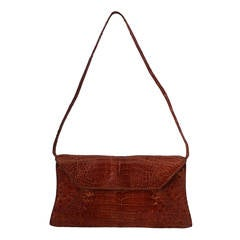 Nancy Gonzalez Terracotta Small Crocodile Shoulder Bag