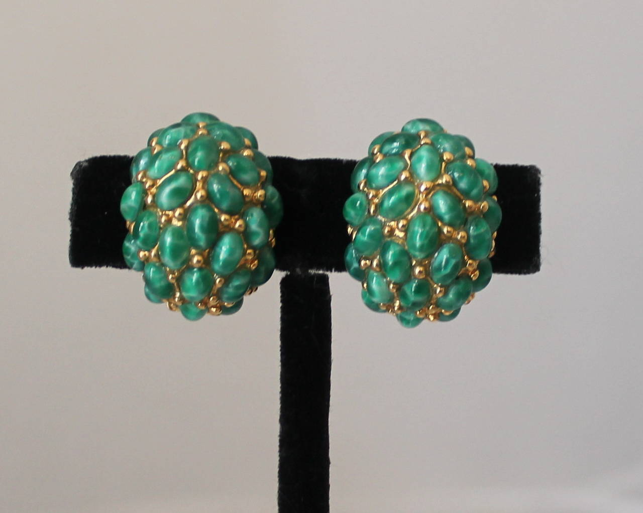 Kenneth Jay Lane 1990's Teal Stone Covered Clip-Ons 2