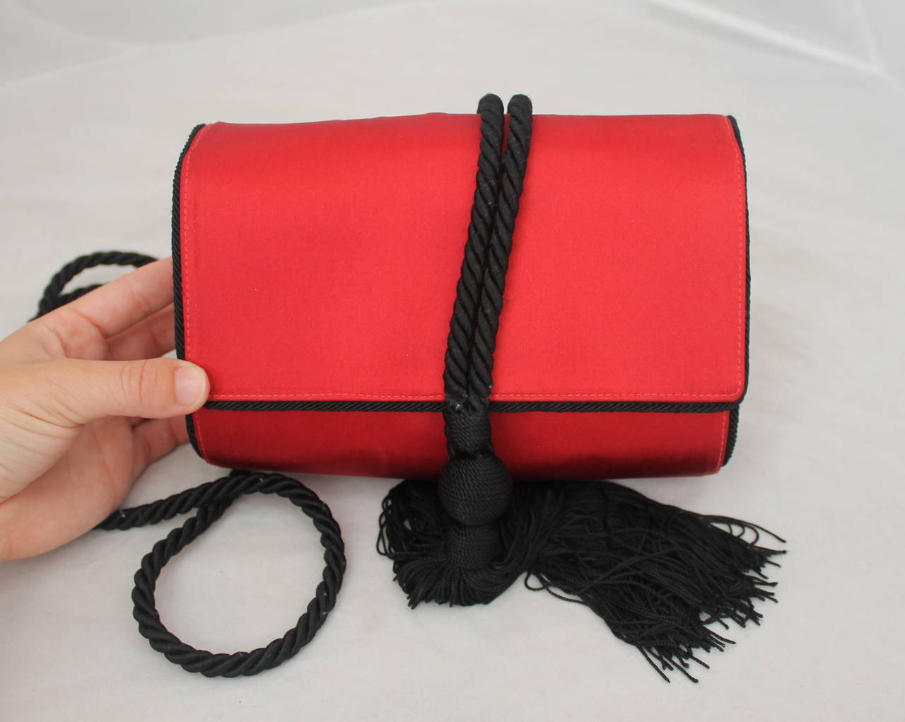 Vintage Salvatore Ferragamo Red and Black Satin Bag with Rope Strap 2
