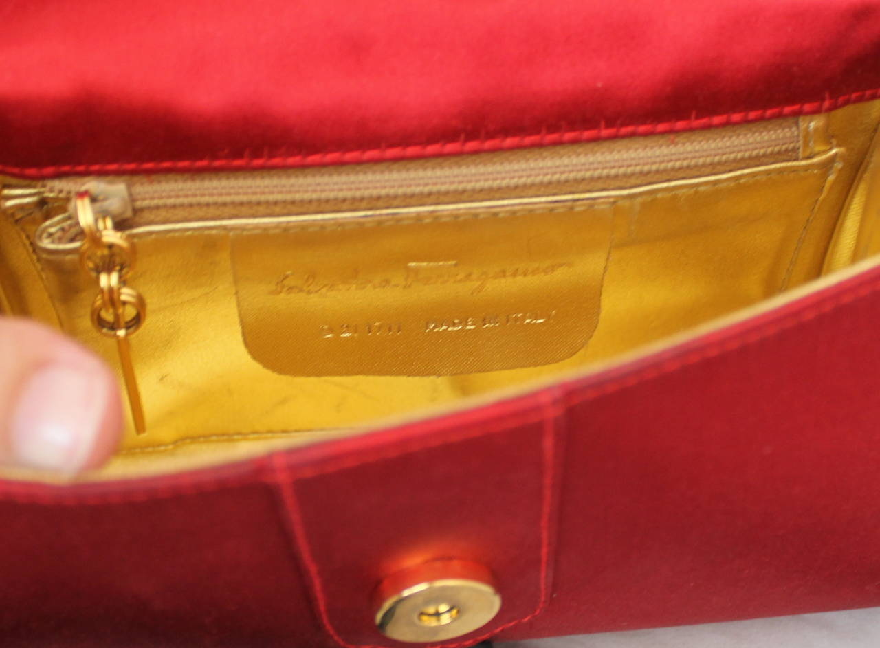 Vintage Salvatore Ferragamo Red and Black Satin Bag with Rope Strap 5
