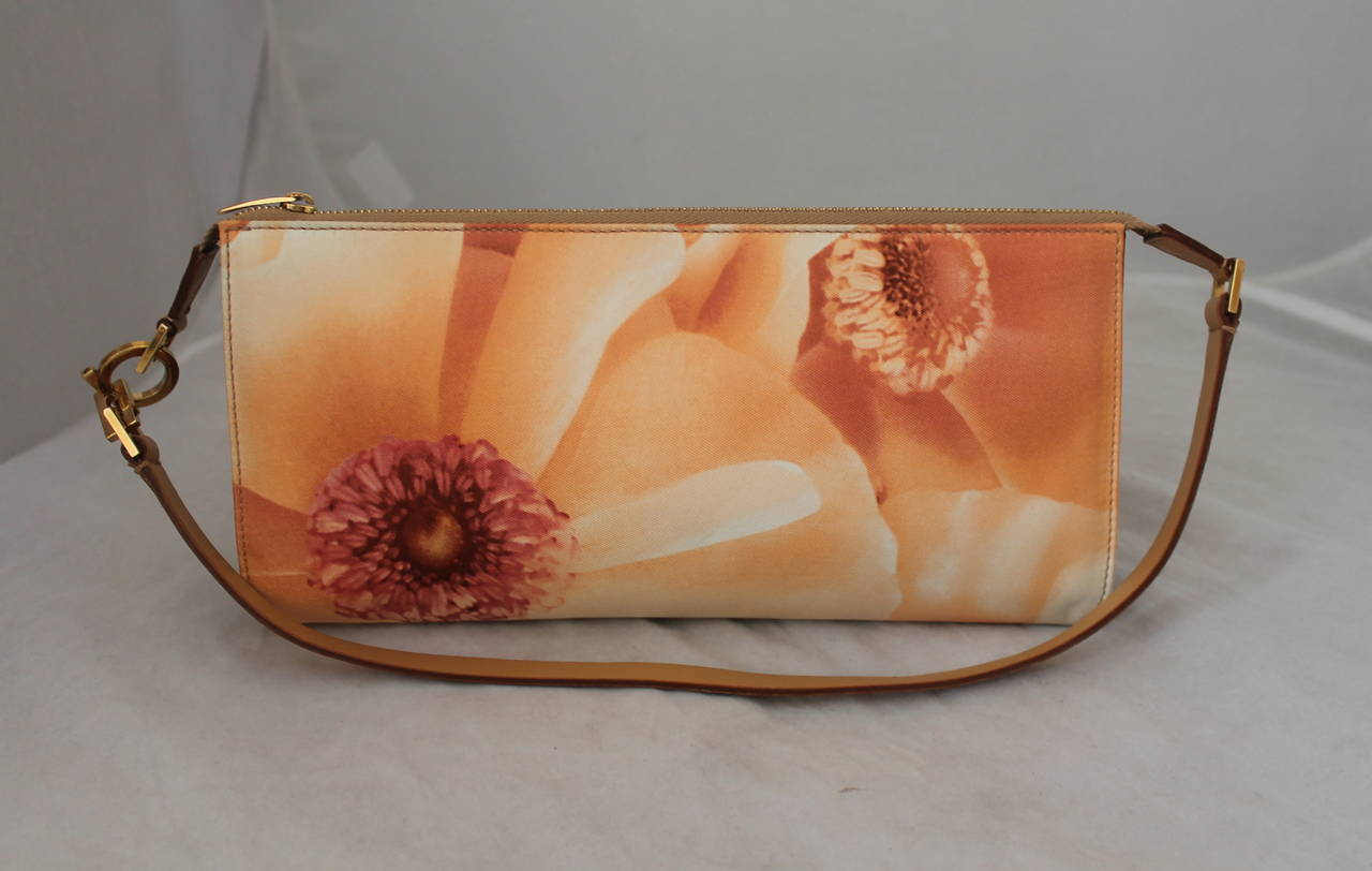 Salvatore Ferragamo Small Shoulderbag with Large Peach and Pink Floral Print and Leather Strap. 