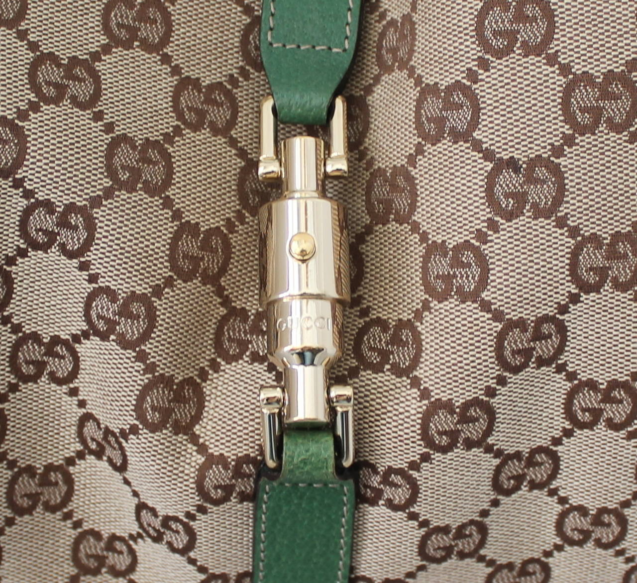 Gucci brown fabric and green leather printed monogram shoudler bag at 1stdibs for Gucci car interior fabric for sale