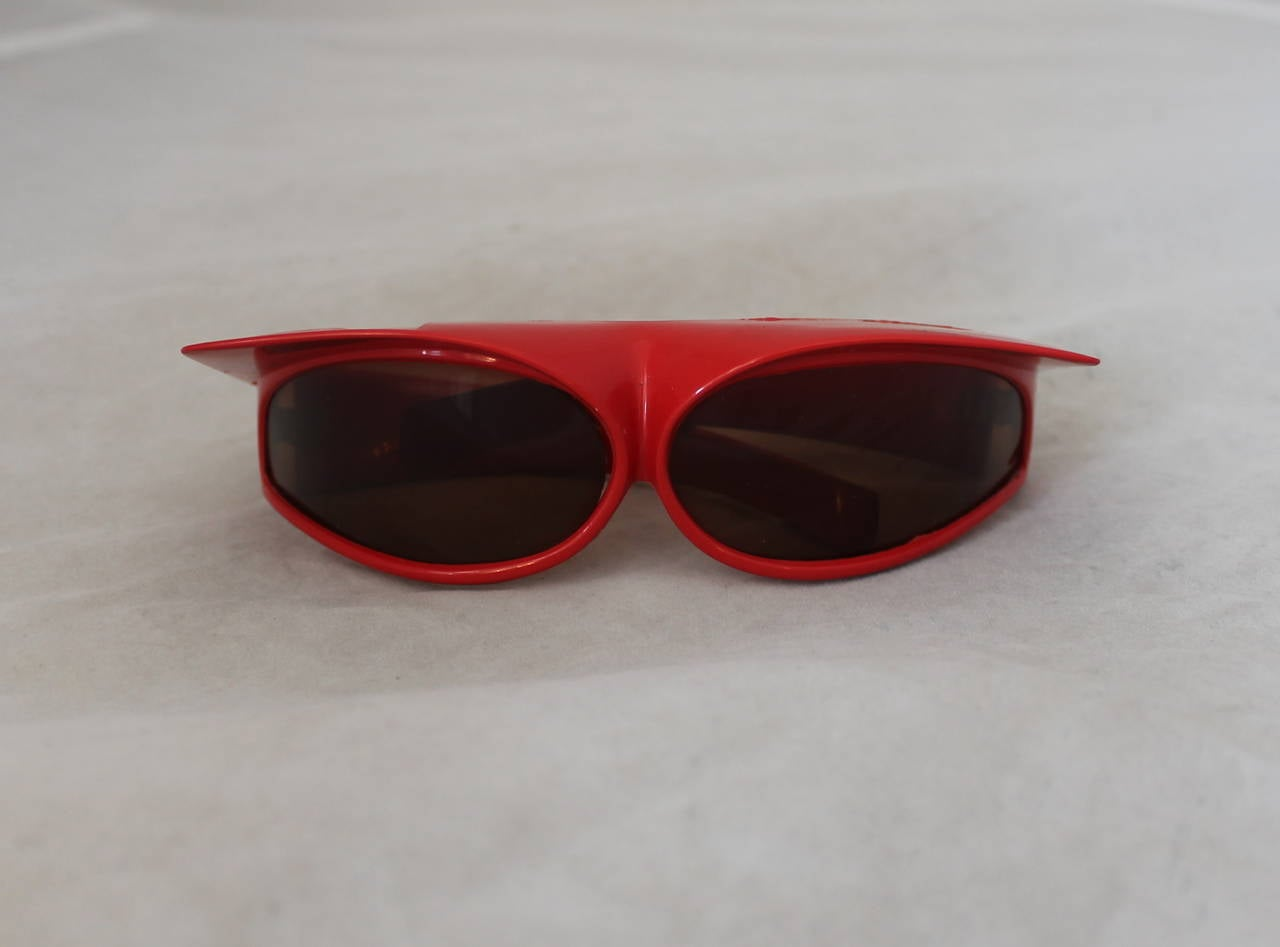 1960's Parisian Vintage Red Geometric Frame Sunglasses 2
