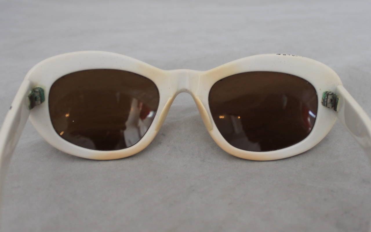 Azzedine Alaia 1990's Vintage White Frame Sunglasses 2
